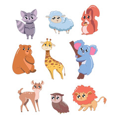 Set of cute animals isolated on white background. Wildlife animals vector illustration