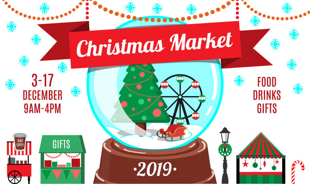 Cartoon Christmas market flyer or invitation design template. Festive card for New Year party or market. Vector illustration