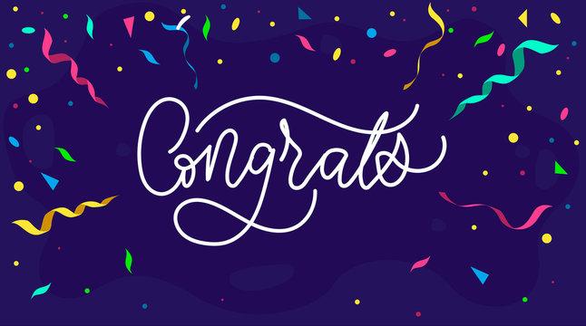 Congratulations design template with confetti and lettering, Vector illustration