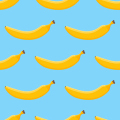 Seamless pattern with banana on blue background. Vector texture.