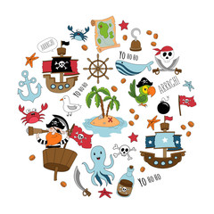 Pirate cartoon set. Big set of pirates supplies for party, greeting card etc.Vector illustration