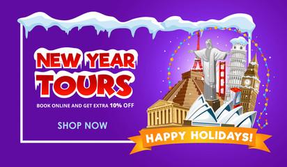 New year travel promo web banner design. Vector illustration