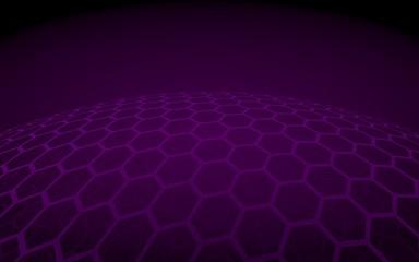 Multilayer sphere of honeycombs, violet on a dark background, social network, computer network, technology, global network. 3D illustration