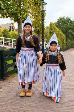 Children in national vintage Dutch costumes.