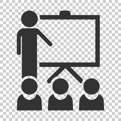 Training education icon in flat style. People seminar vector illustration on isolated background. School classroom lesson business concept.