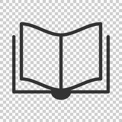 Book education icon in flat style. Literature magazine vector illustration on isolated background. Book paper business concept.