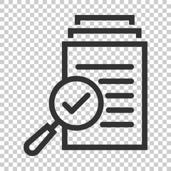 Scrutiny document plan icon in flat style. Review statement vector illustration on isolated background. Document with magnifier loupe business concept.