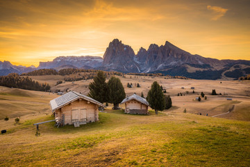 Wall Mural - Alpe di Siusi at sunrise, Dolomites, South Tyrol, Italy