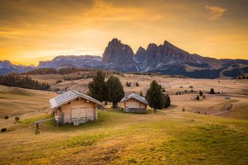 Fototapete - Alpe di Siusi at sunrise, Dolomites, South Tyrol, Italy