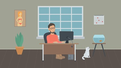 Young bearded freelancer in glasses works at a computer in a home office. Simple vector illustration in flat style.
