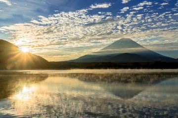 朝の精進湖より富士山