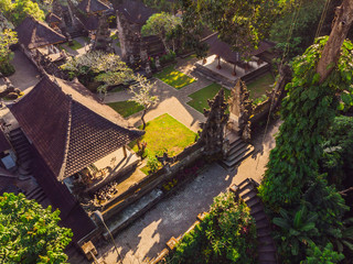 Aerial shot of the Pura Gunung Lebah temple in Ubud on the Bali island
