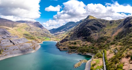 Fototapeta Aerial view of the Snowdonia National Park close to the historic Dolbadarn Castle in Llanberis, Snowdonia - Wales obraz