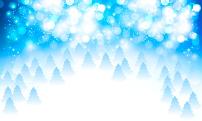 abstract white blue snowy bokeh and christmas trees background
