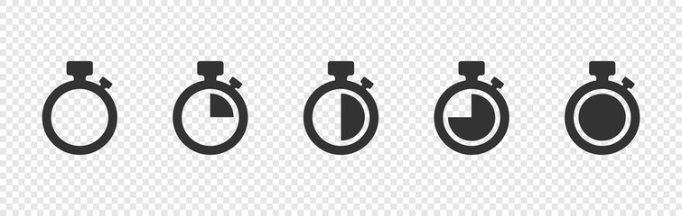 Set of Timer vector icons on transparent background. Countdown Timer vector icons