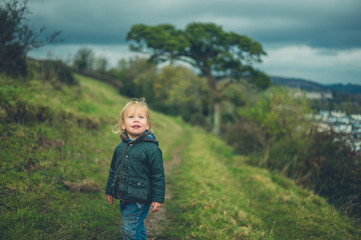Little toddler walking on hillside in autumn