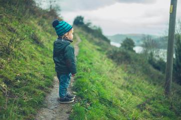 Little toddler walking on hillside in autumn