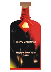 Merry Christmas and Happy New Year 2019, bottle with bells, vector illustration