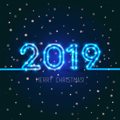 2019 Merry Christmas design. Vector neon figures with lights. Greeting card background. Happy new year 2019 sign.