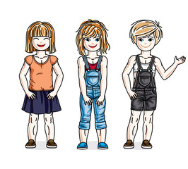 Beautiful happy little girls posing wearing fashionable casual clothes. Vector kids illustrations set.