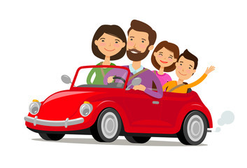 Happy family travelling by car. Journey, travel concept. Cartoon vector illustration