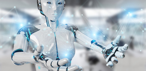 White woman robot using digital network connection 3D rendering