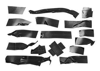 Duct repair tape black set, patterns kit isolated on white