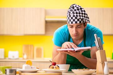 Man cook preparing cake in kitchen at home