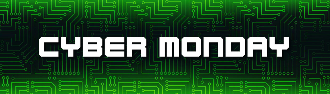 Cyber Monday. White text on green printed circuit board. Promotional banner illustration in vecor.