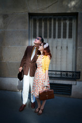 Retro style couple, Montmartre, Paris, France