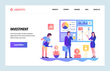 Vector web site gradient design template. Business investment and roi financial report. Landing page concepts for website and mobile development. Modern flat illustration.