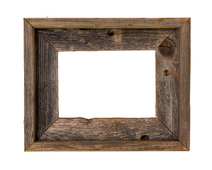 8x10 rustic recycled wood picture frame isolated on white with clipping path at ALL sizes.