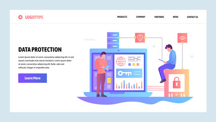 Vector web site gradient design template. Data protection, cyber security and secure login. Landing page concepts for website and mobile development. Modern flat illustration. Wall mural
