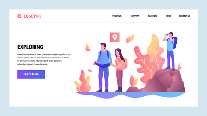 Vector web site design template. Adventure travel and outdoor exploring. Landing page concepts for website and mobile development. Modern flat illustration.