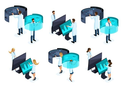 Isometry a large set of groups of doctors use modern technologies of the private clinic, a virtual screen, a large tablet, modern data storage, doctors, surgeons