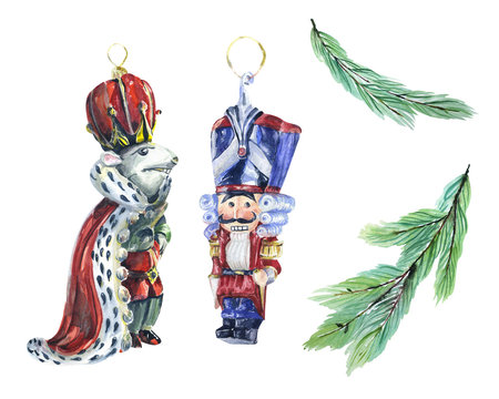 Watercolor high quality painted set with vintage nut cracker christmas decorations. Could be used for greeting cards, wrapping paper, textile, home decor