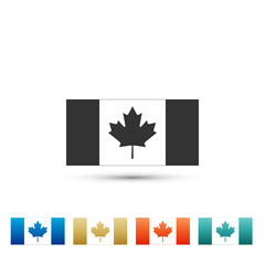 Canada flag icon isolated on white background. Set elements in colored icons. Flat design. Vector Illustration