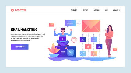 Vector web site design template. Digital and email marketing. Landing page concepts for website and mobile development. Modern flat illustration.