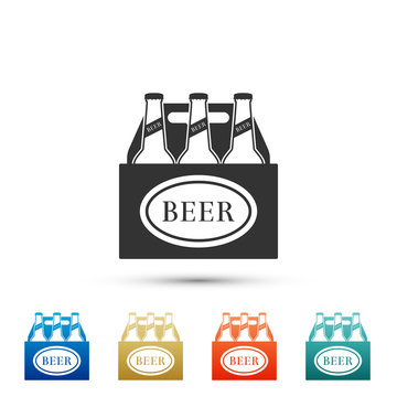 Pack of beer bottles icon isolated on white background. Case crate beer box sign. Set elements in colored icons. Flat design. Vector Illustration