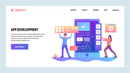 Vector web site gradient design template. Coding and software app development. Landing page concepts for website and mobile development. Modern flat illustration.