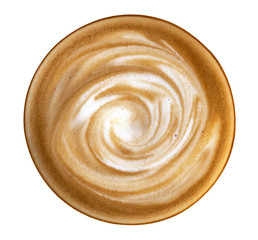 Hot coffee latte cappuccino spiral foam top view isolated on white background, clipping path included