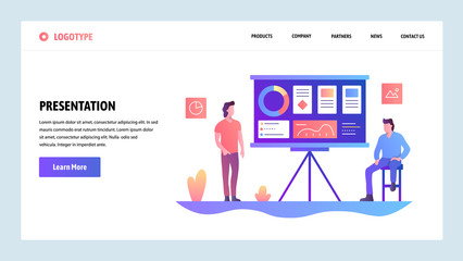 Vector web site design template. Business presentation with financial charts. Landing page concepts for website and mobile development. Modern flat illustration.
