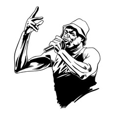 Rap singer. Rapper character with microphone in comic style. Vector illustration