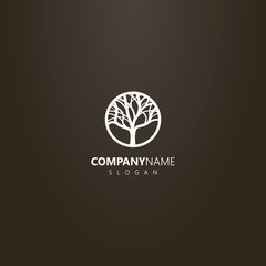 white logo on a black background. vector logo of deciduous tree in a round frame