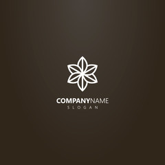 white logo on a black background. vector geometric line art logo of a six-leafed flower