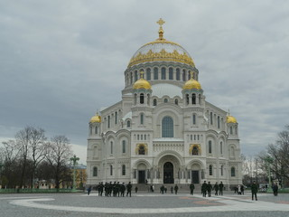 Kronstadt city, Russia October 28, 2018 St. Nicholas Naval Cathedral
