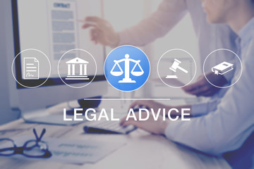 Legal advice and lawyer consulting service, concept with icons of justice, court, law, contract and in background two consultant working on document on computer screen, business legislation, notary