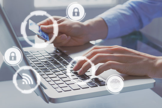 Secure online payment with credit card on internet shop e-commerce technology, concept with icons and person paying on computer website in background