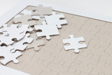 White jigsaw puzzle as background