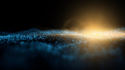 Abstract particles render with lens flare on dark background, graphic and motion concept